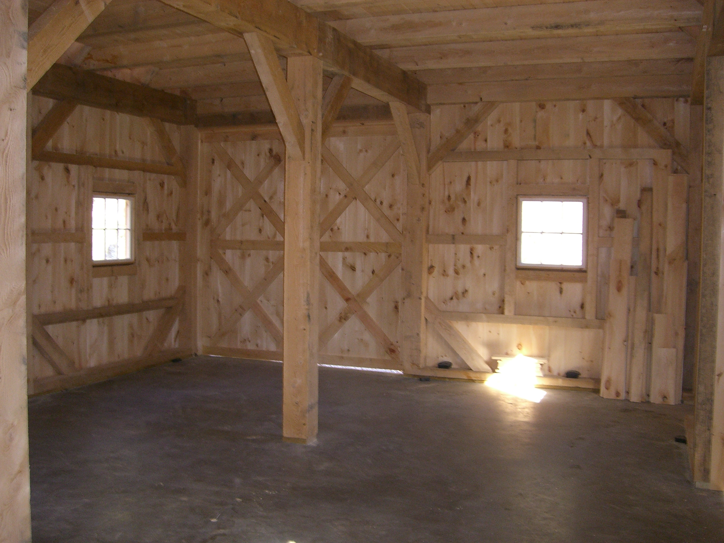 Inside 20' x 24' Post and Beam Barn