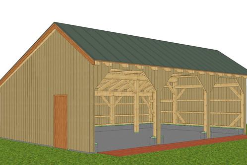 24' x 36' Simple Post & Beam Barn