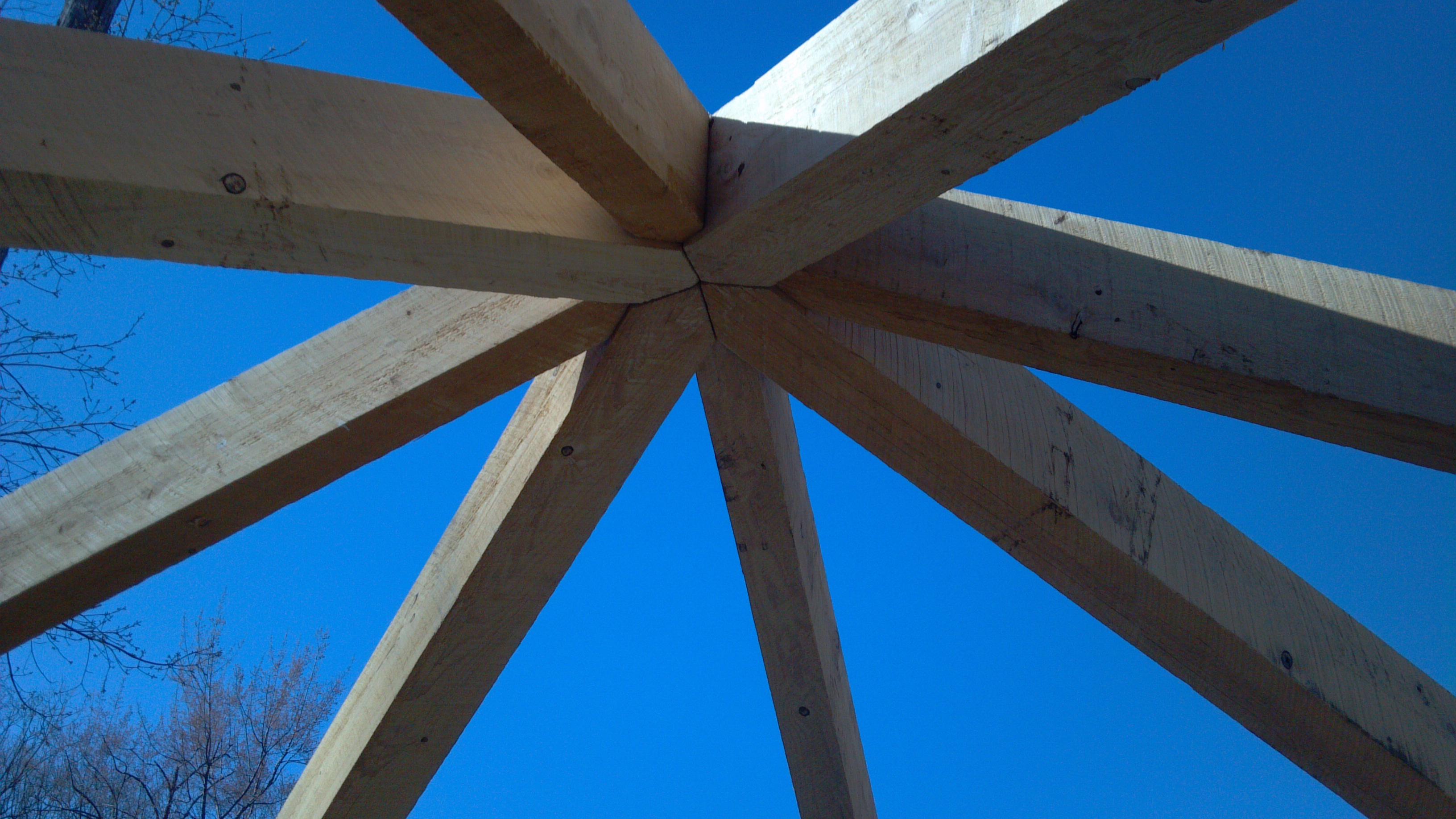 14' x 14' Custom timber built hip roof
