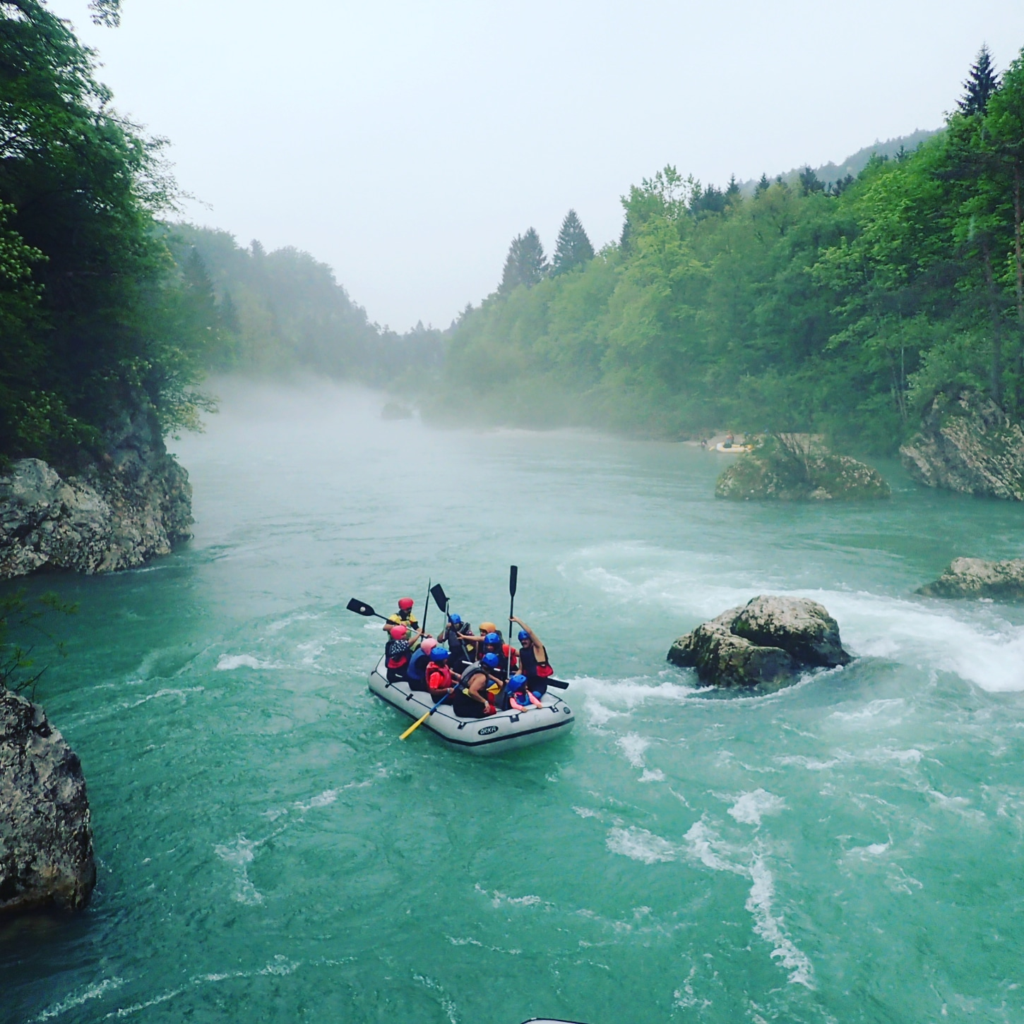 Bled Rafting on foggy river Sava