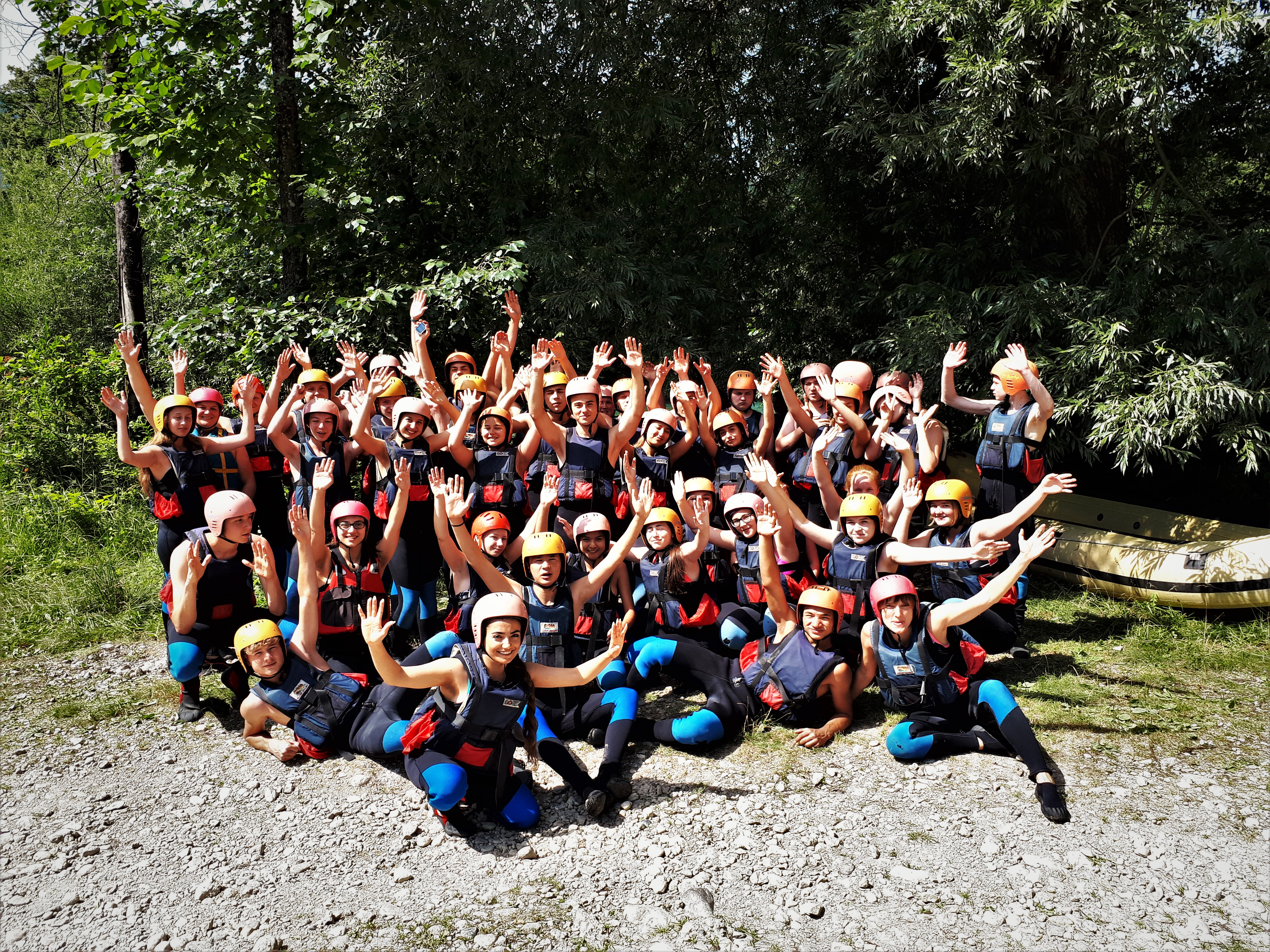Group Bled rafting on Sava Dolinka
