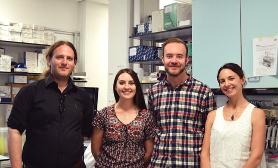 Dr Camille Bonneaud and her wildlife disease research group at te University of Exeter