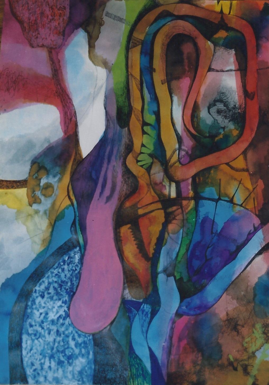 VIRUS SETTE tecnica mista su carta cm 70 x cm 100 1999