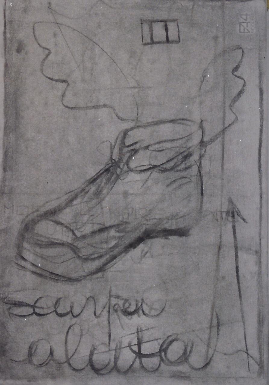 SCARPA ALATA carboncino su carta cm 50 x cm 70 1997-001