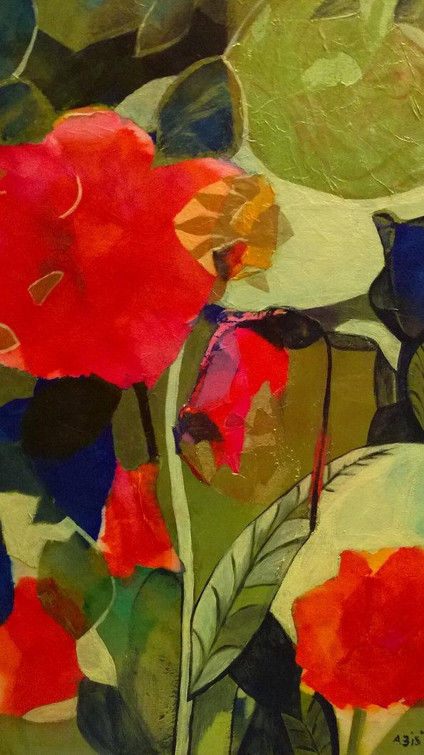 fiore orientale collage e pittura 45x 70