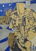 URBANICA BIC SOTTO UN CIELO STELLATO TUTTO AVVITATO penna biro e collage altri disegni su polistirol