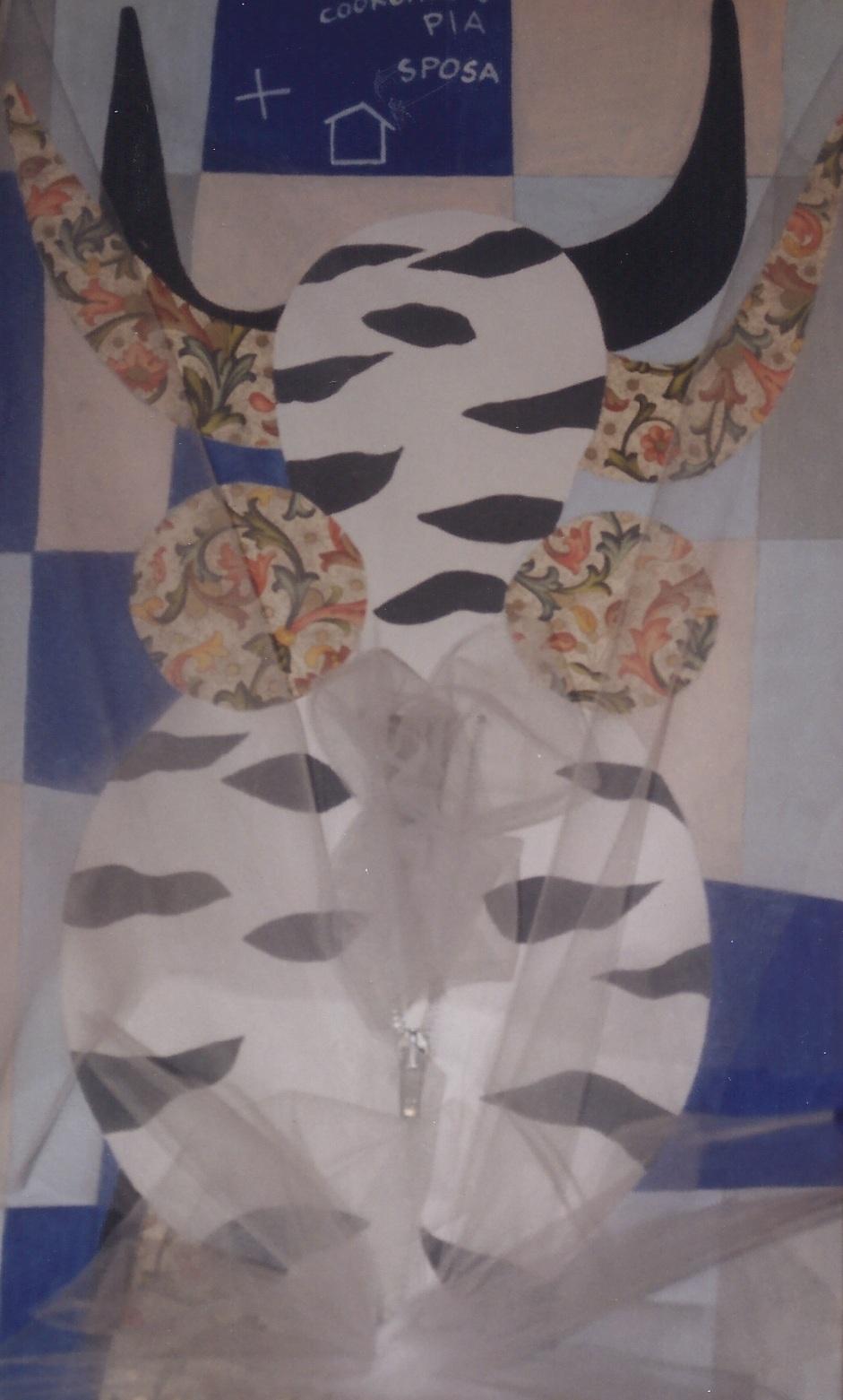 COORDINATO PIA SPOSA tecnica mista con assemblage,taglio e cerniera con tulle su tela cm 50 x cm 35