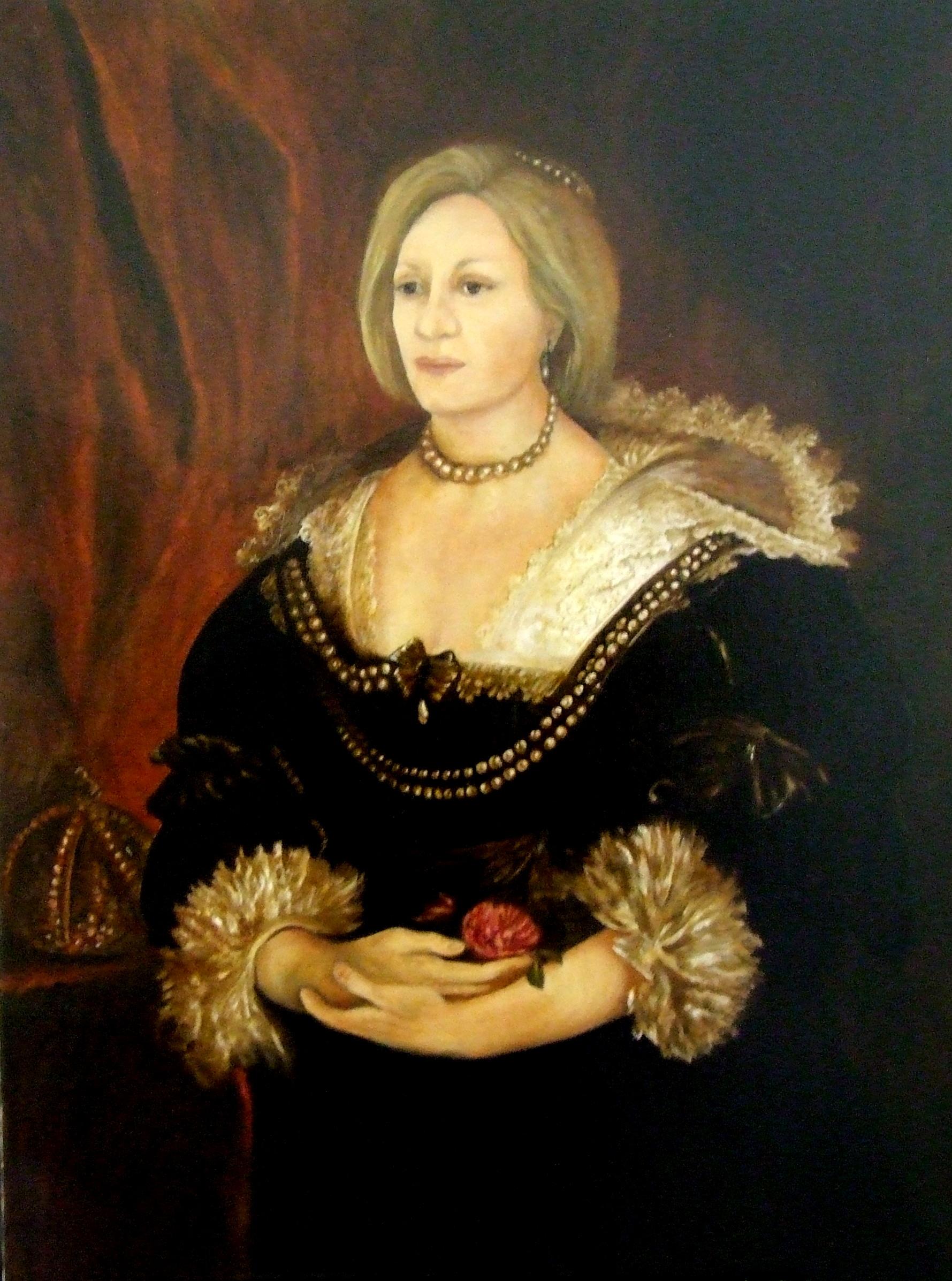 Ritratto inserito nella copia di un dipinto di Van Dyck olio su tela-001