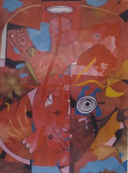 SACRO ROSSO tecnica mista su carta cm 70 x cm 100 1998-001