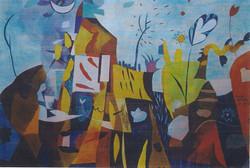 , mista su carta 70 X 100  PAESAGGIO FERITO 1997