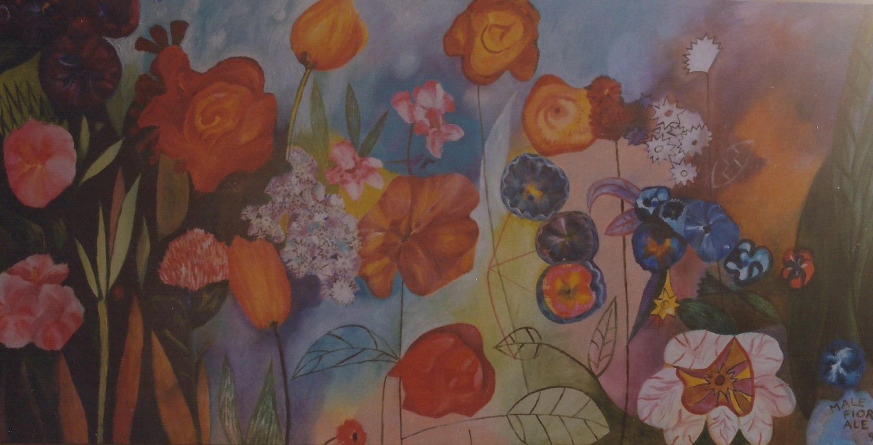 FIORALELLANDO tecnica mista su carta pittura cm 35 x cm 70 1998
