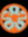 Logo grafico mondo si trasparente aranci