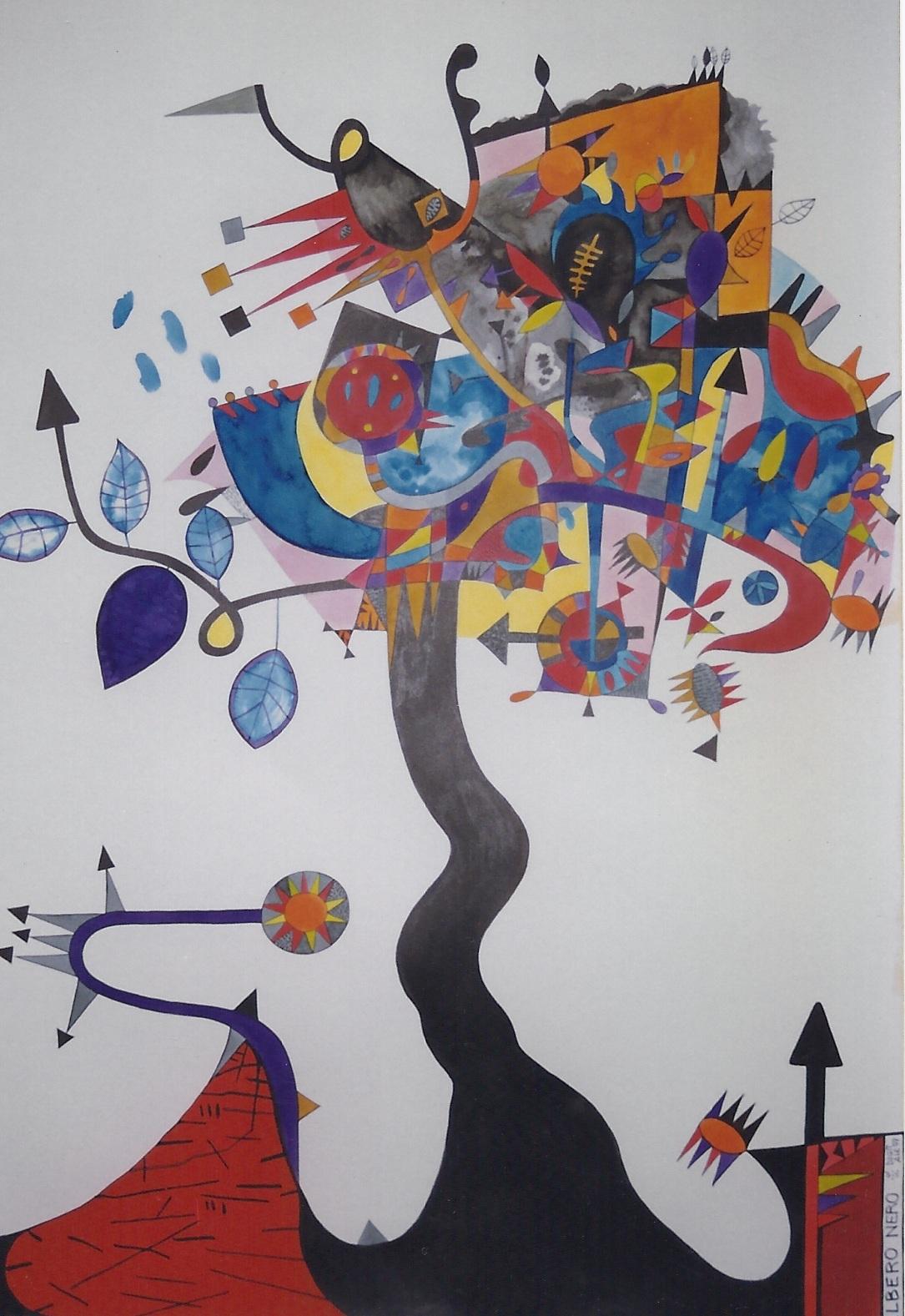 ALBERO NERO tecnica mista pittura su carta cm 70 x cm 100 1997