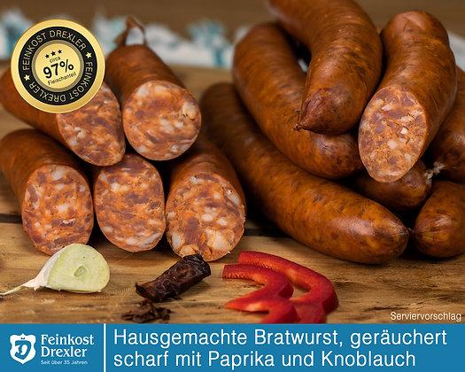 Hausg. Bratwurst - geräuchert, scharf, mit Paprika u. Knoblauch