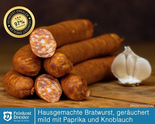 Hausg. Bratwurst - geräuchert, mild mit Paprika u. Knoblauch