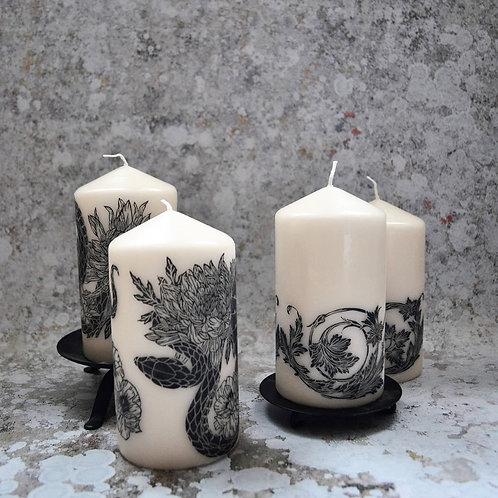 Lino Cut Decorative Candle
