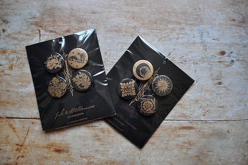 Lino Print Black and Gold Pin Badges