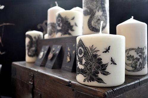 Lifting The Veil Lino Cut Decorative Candle