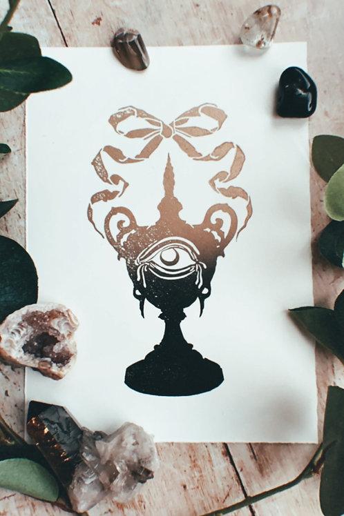 Urn Lino Print (Gold & Black)