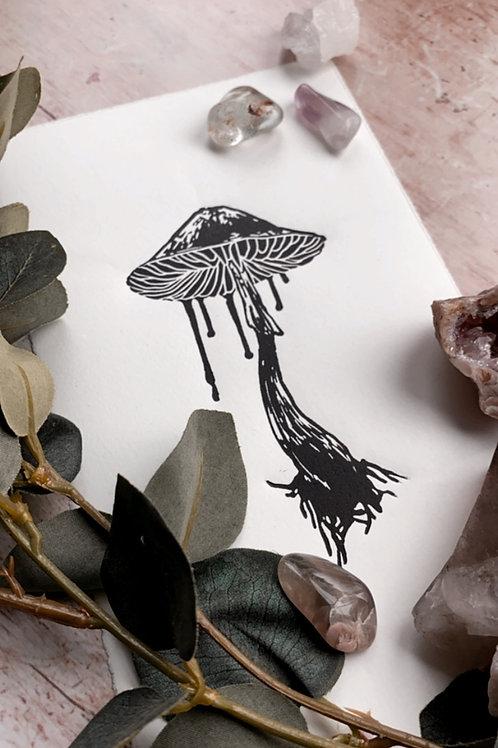 Mushroom Lino Print (Black & White)
