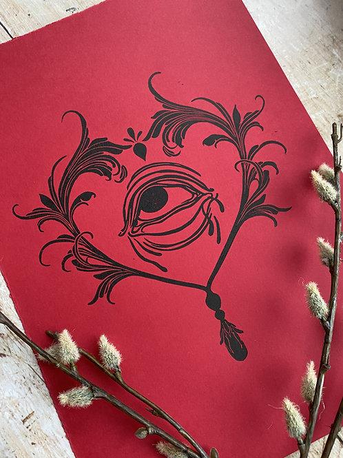 Filigree Valentine Lino Print (Red & Black)