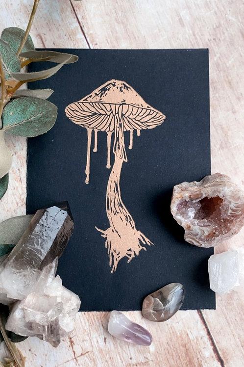 Mushroom Lino Print (Gold on Black)
