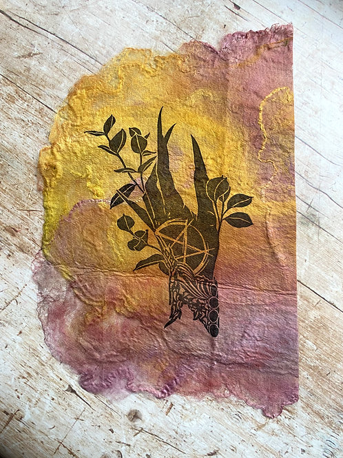Witch's Hand Lino Print Limited Edition Silk Paper (Pink & Yellow)