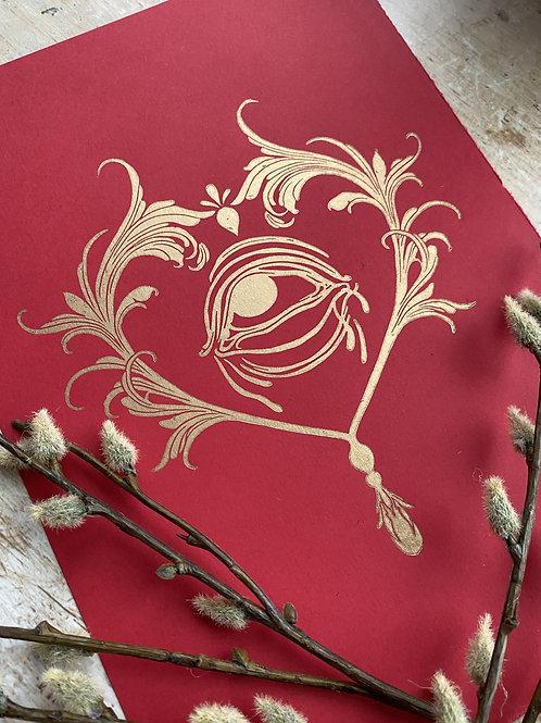 Filigree Valentine Lino Print (Red & Gold)