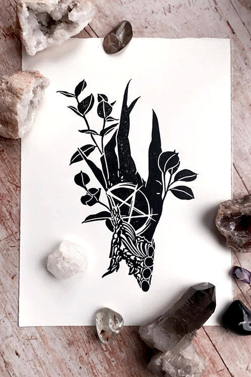 Witch's Hand Lino Print (Black & White)