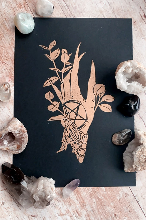 Witch's Hand Lino Print (Gold on Black)
