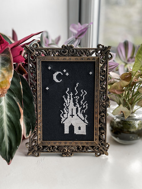 Burning Church Vintage Framed Cross Stitch