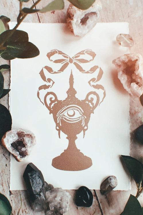 Urn Lino Print (Gold & White)