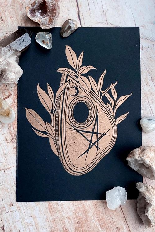 Planchette Lino Print (Gold on Black)