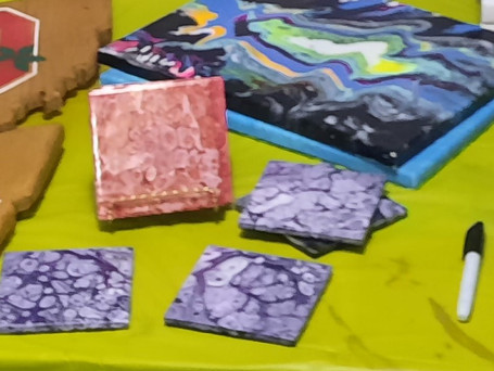 Acrylic Pour (on Canvas or Set of 4 Coasters)