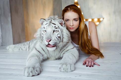фотосессия с белым тигром