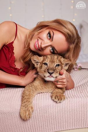 фотосессия со львёнком
