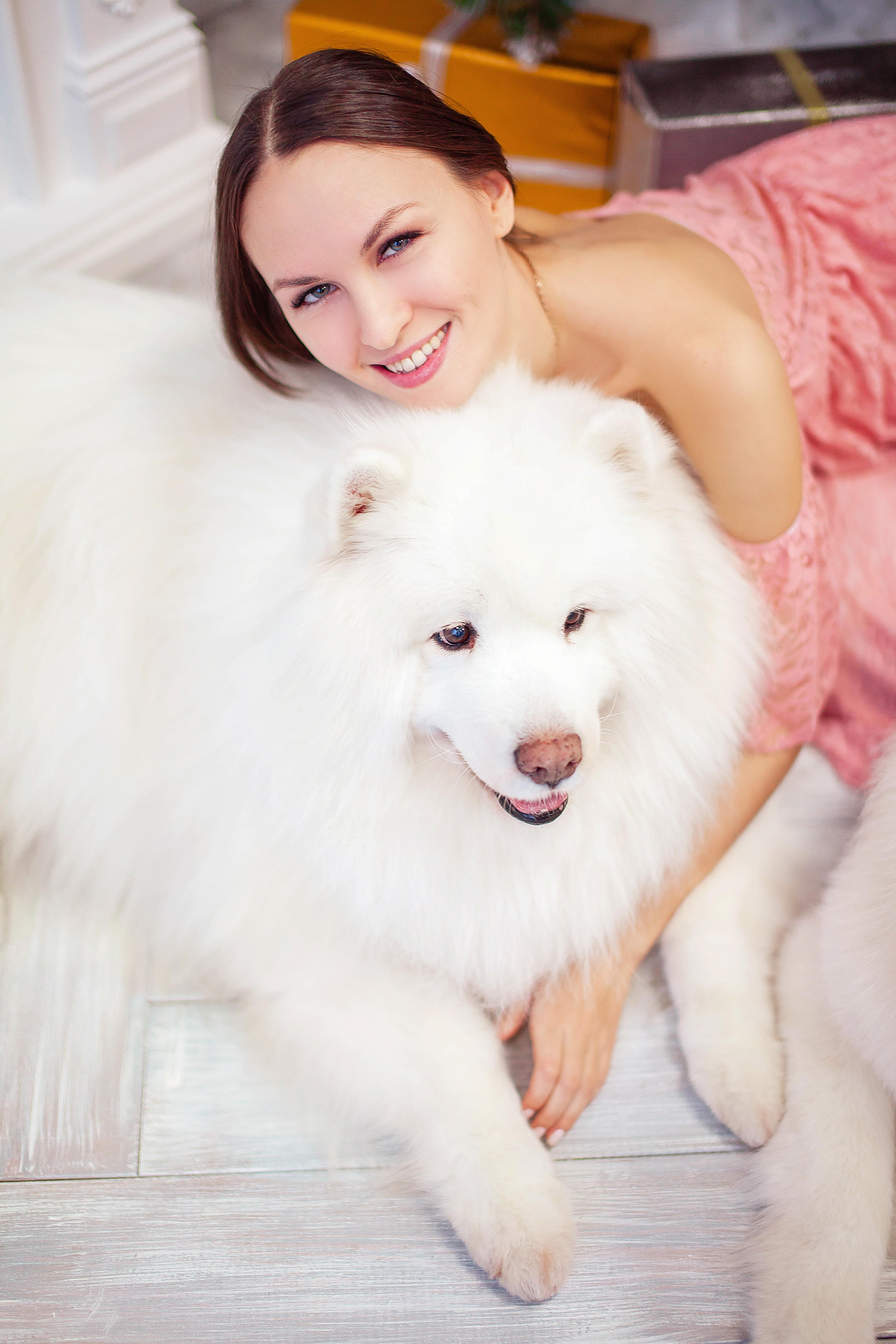 портрет девушки с собакой породы самоед