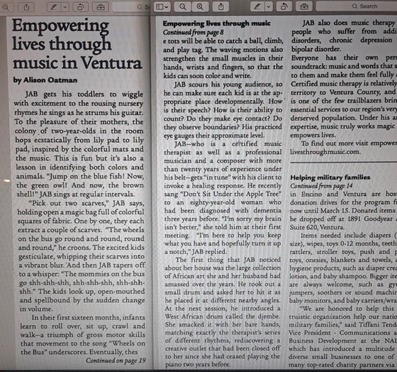 Empowering Lives through Music article in The Breeze