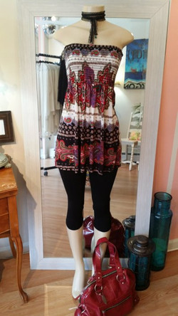 white and burgundy top with purse