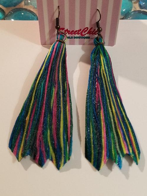 Solid Yarn Multi-Color Fan Earrings