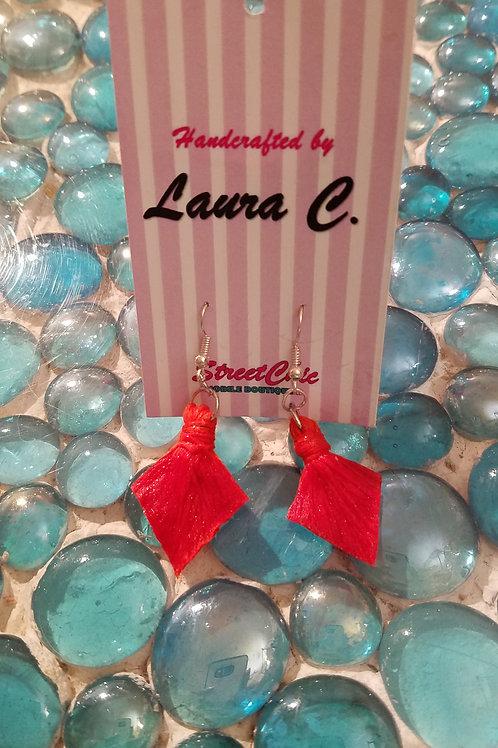 Solid Yarn Orange Earrings