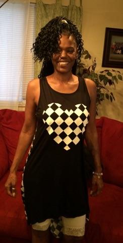 Kim black & white checkered tunic