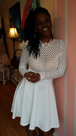 Kim white a-line dress