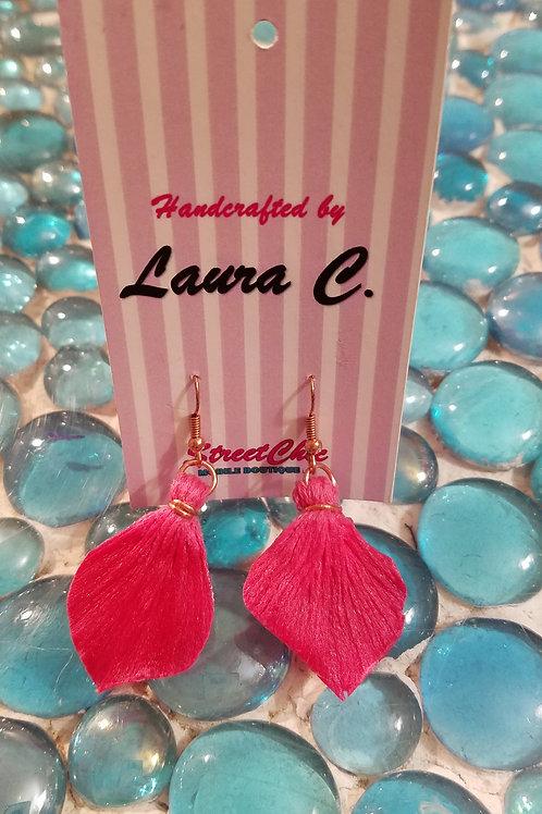 Solid Yarn Pink Earrings
