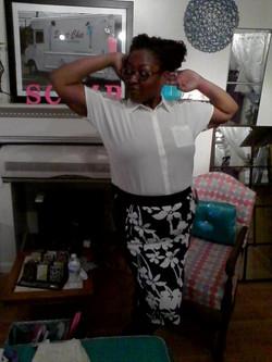Plus-white lace shirt-white&black floral skirt