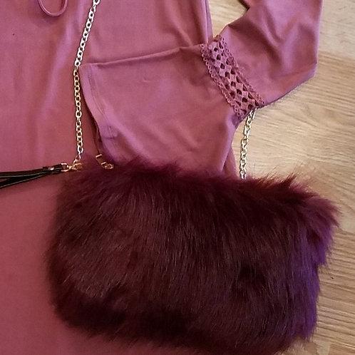 Furry Burgundy Shoulder bag