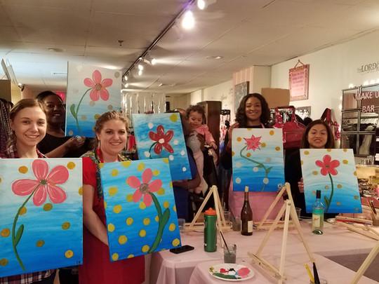 Floral Dots Paint & Sip