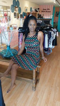 Kim black polka-dot a-line dress