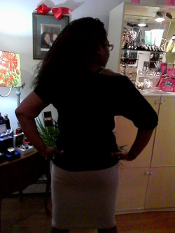 Black cold-shoulder blouse-tan chain skirt BACK-VIEW