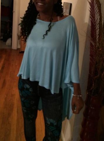 Kim blue high-low cape blouse